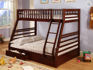 HOMETOWN- WOOD BUNK BED TWIN OVER DOUBLE