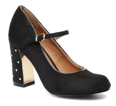 Rounded toe heels in black