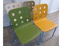 Stylish Ikea Wooden Dining Chairs x4, Refurbed in Retro Colours