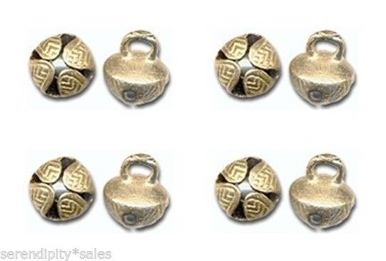 """50 Solid  BRASS JINGLE BELLS 19mm 3/4"""" Beads Crafts ~ Sturdy Design. ~ Nice Ring"""