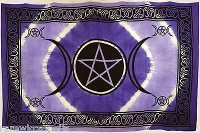 "GREAT GIFT Purple Triple Moon Pentagram (72"" x 108"") Tapestry Wicca Altar Cloth"
