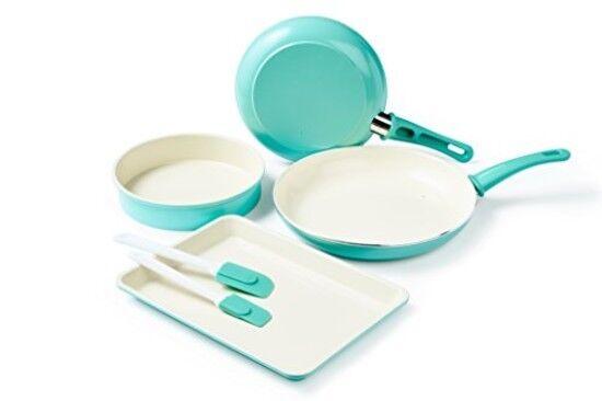 Cookware Bakeware Set Cooking Baking 6 Pc Turquoise Cake Pan