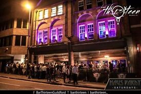 Looking for bar staff for Bar Thirteen in Guildford who are able to work New Years eve ETC