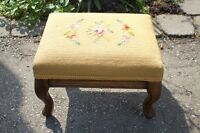 FOOT STOOL Wood Cabrile Leg Tapestry Needlepoint of Roses