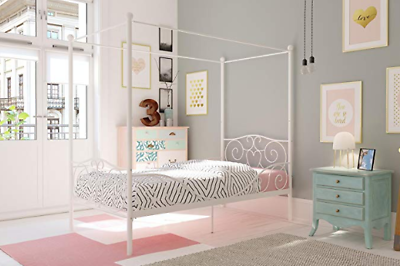 Twin Canopy Bed For Girls White Metal Frame Headboard Teen C