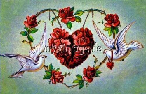 Vintage Valentine Dove Heart Love Quilting Fabric Block 5x7