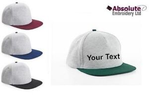 Personalised-Flat-Peak-Snapback-Cap-Hat-Your-Text-Name-Slogan-Varsity-Retro