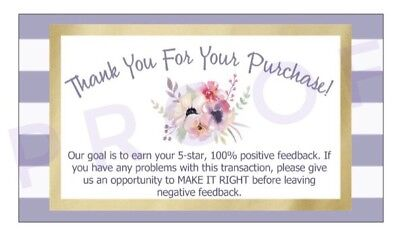 50pc Thank You For Your Purchase Business Cards Buyer Feedback Package Inserts