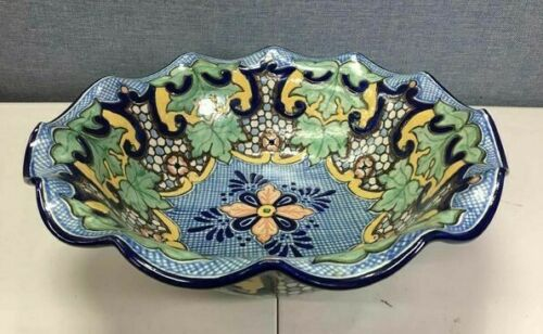 "VTG Talavera Pottery Signed Uriarte Puebla Mexico 16"" Serving Centerpiece Bowl"