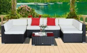 7 Piece Rattan Outdoor Conversation Patio Set