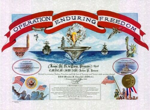 """Military.: """"Operation Enduring Freedom """": 15.5 x 21, full color certificate"""
