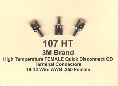 50 High Temperature Female Qd Terminal Connector 16-14 Wire Gauge .250 3m Brand