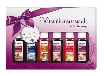 Badeöl Verwöhnmomente Tetesept Geschenkset Bad Aroma Pflegebad 6 x 20 ml €8/0.1L