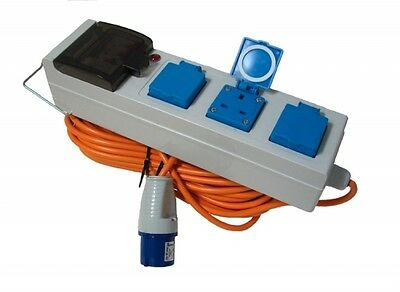 Electric Hook Up For Camping with RCD & MCD Campsite Approved Waterproof unit