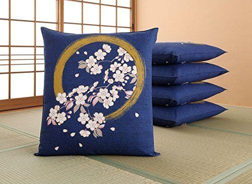 Zabuton - Japanese Floor Cushion Cover (5pieces) - Enso Circle with Sakura