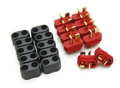 10 male Amass T PLUG Deans connectors w/ insulating caps 10AWG ESC USA RC Drone