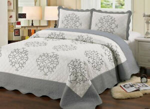 QUILT QUEEN SIZE 3 PC BEDDING BED SET EMBROIDERED NEW