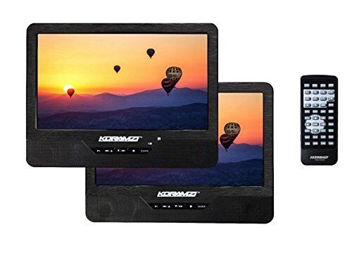 """Koramzi Portable 9"""" Dual Screen DVD Player With Rechargeable"""