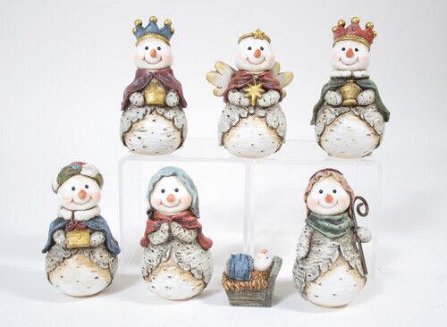 7 Piece SNOWMAN NATIVITY Christmas Nativity Set, by Slifka