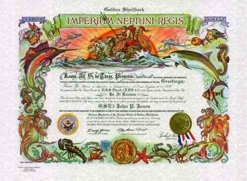"U.S.N.: ""Golden Shellback"": 15.5 x 21, full color cert. (Personalized)"