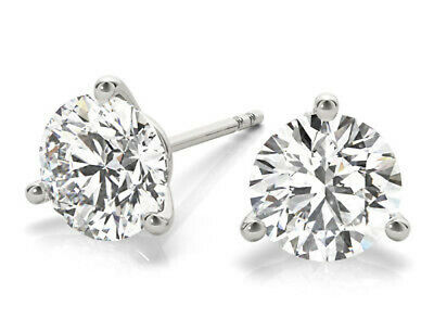 Platinum 1.20 ct Round Diamond Stud Martini Style Earrings H VS2 GIA certified