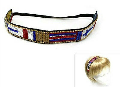 Blue, Red, and White Beaded Stretch Cross Headband Hairband