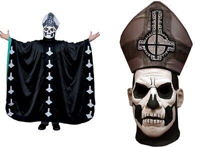 Halloween GHOST PAPA II Robe + EMERITUS Deluxe Edition Latex Mask Haunted House - Papa Emeritus Mask