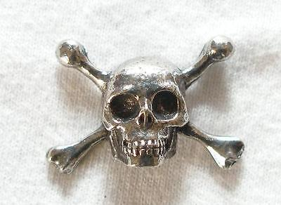 Pirate Skull & Cross Bones Pin Badge in Fine English Pewter, Handmade