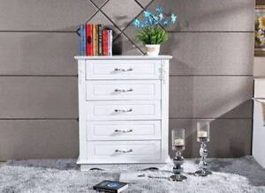 <&New Wooden White Dresser Chest 5 Drawers Storage Tall boy Kellyville The Hills District Preview