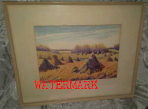 RARE CANADIAN PAINTING, HAYSTACKS, SIGNED, c1950's