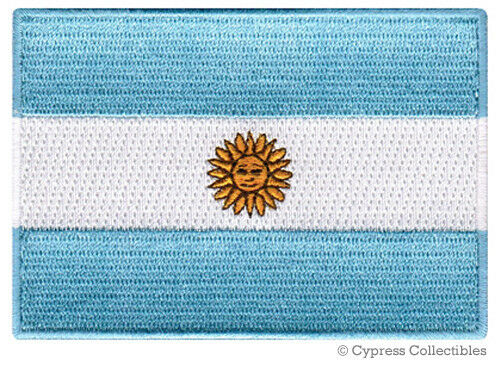 ARGENTINA NATIONAL FLAG PATCH ARGENTINIAN Iron-on EMBROIDERED SOUVENIR Applique - $1.99