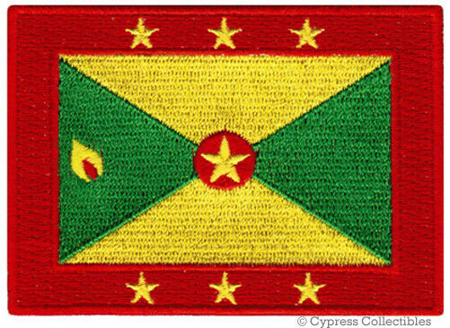GRENADA FLAG embroidered iron-on PATCH CARIBBEAN EMBLEM SOUVENIR APPLIQUE