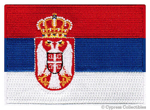 SERBIA FLAG embroidered iron-on PATCH SERBIAN EMBLEM Belgrade applique Srbija