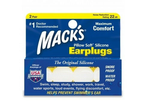Macks MACK'S #5 ADULT Clear Silicon Pillow Soft Swimming Ear Plug NEW  2 Pairs
