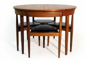 Table en teck ronde midcentury