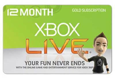 XBOX LIVE 12 MONTH GOLD MEMBERSHIP XBOX 360 / XBOX ONE Intemperate Eliminate / UK SELLER