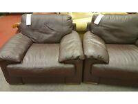 Natuzzi brown sofa chairs