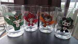 4 McDONALDS OLYMPIC DRINKING GLASSES // 2008 BEIJING GAMES // CANADA ONLY RARE // FRENCH & ENGLISH PRINT / MEOMI PEOPLE
