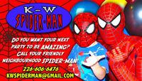 K-W Spider-Man superhero birthday party appearance + photos