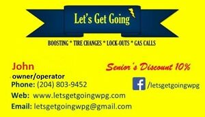 LET'S GET GOING 24/7 BOOSTING,CHANGE FLAT TIRES,LOCKOUT SERVICE
