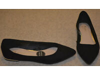 BNWT ATMOSPHERE flat womens shoes black balerines size UK 3 36 comfortable GOLD