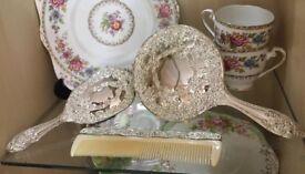 Vintage Silver Plated Dressing Table / Vanity Set
