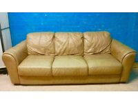 Wide leather faux brown 3 seater sofa