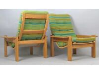 Vintage retro wooden Danish Swedese mid century lounge chair armchair green wool 60s 70s x 1