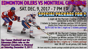 Oilers vs Montreal Canadiens Sat Dec 9 Package for 2