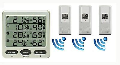 Funk Thermometer FT0073 mit 3 Innen/ Assenensoren Luftfeuchte Display Min/max
