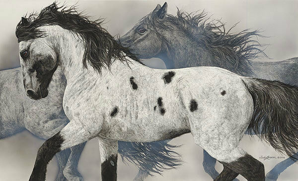 Judy Larson THE GHOST WIND, giclee canvas, Horses #195/200