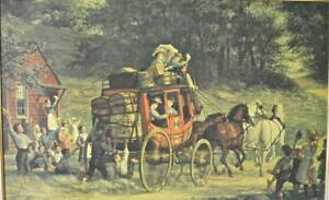 The Pemigewasset Coach: Wood Perry's Oil Painting  Print