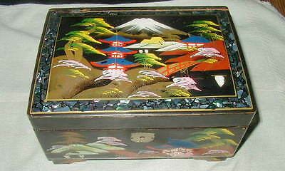 OLD JAPANESE BLACK LACQUER JEWELRY, MUSIC BOX, HAND PAINTED, ABALONE INLAY