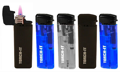 5 Pk Spark Torch-It Turbo Windproof Refillable Adjustable Butane Torch Lighters